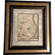S R Coppins, Squirrel with a Nut, Pen and Ink Drawing Signed by Artist