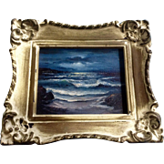 Robert Halstead, Small Seascape Oil Painting of Moonlight on Ocean Waves Signed by Artist