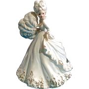 Rare Vintage Large Josef Originals Ostrich Feather Fan Victorian Lady White Ceramic Figurine Made in Japan