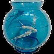 White Raised Enamel Overlay Tropicbirds Hand Painted on Vintage Blue Glass Vase Globe