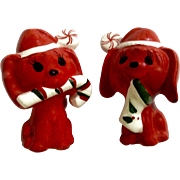 Red Dog Candy Peppermints Christmas Salt and Pepper Shaker Ceramic Animal Figurines Made in Japan