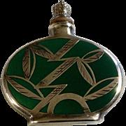 Vintage Green Porcelain German Sterling Silver Overlay Crown Top Perfume Bottle Leaf Design 1920s -1940s, 1000/1000