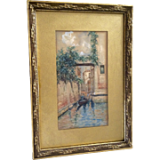 C Millard, Watercolor Painting of Venice Canal 19th Century Works on Paper Signed by Artist