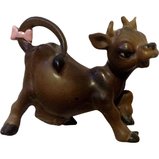 Vintage Josef Originals Cow with Pink Bow Ceramic Figurine Made in Japan