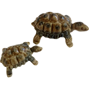 "Vintage 1960's Pair of Wade Porcelain Turtles Tortoises Made In England 3"" and 2""  Figurines"