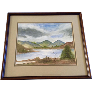 Scotland Lake with Birds Flying at Shoreline, landscape Watercolor Painting Works on Paper Monogramed by Artist