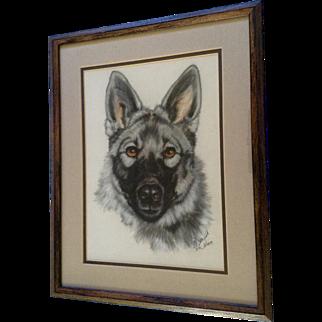 C Holly Merrifield, German Shepard Portrait Pastel Drawing Signed by Colorado Wildlife Artist