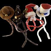 Rare Barbie Doll Homemade Holiday Hats 1970's Felt Set