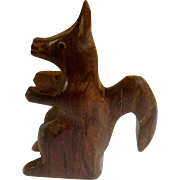 Vintage 1970's Wood Carved Sculpture German Squirrel Figurine
