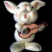 Vintage Anthropomorphic Singing Bunny Rabbit with Guitar Schmid Bros. Ceramic Figurine Made in Japan