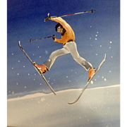 Freestyle Freeskiing Daffy or Moonwalk Snow Skier Doing Trick on a Jump Watercolor Painting