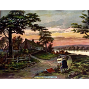Wakefield Birthplace of George Washington, Popes Creek Chromolithograph Lithograph Print Enhanced with Antique Glitter