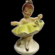 Vintage Josef Originals Little Tutu Girl Ballerina Lime Green Ceramic Japan Figurine