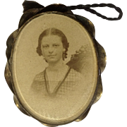 19th Antique Century Sepia Toned Photograph of a Woman in a Locket