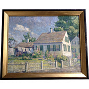 Wood, Oil Painting on Canvas, Laundry Day at the Homestead Signed by Artist