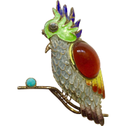 Vintage Stunning Gold Plated Sterling Silver 925 Tropical Parrot Bird Pin