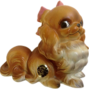 Vintage Josef Originals Pekingese Puppy Dog With Pink Bow Adorable Made in Japan Ceramic Figurine