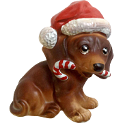 Vintage Josef Originals Dachshund Doxin Dog Figurine Wearing Santa Hat Holding Candy Cane Christmas Made in Japan Ceramic Figurine