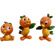 Vintage Rare Walt Disney World Production Orange Bird Florida Figurine Set Hard to Find Hard Rubber Discontinued