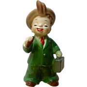 Vintage Josef Originals George Imports Boy Figurine Professional Series Holding Hot Shot Sales Briefcase Made in Japan Ceramic Figurine