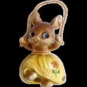 Vintage Josef Originals Jump Rope Anthropomorphic Bunny Rabbit Wearing a Yellow Dress with a Orange Flower Made in Japan Ceramic Figurine