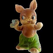 Vintage Josef Originals Anthropomorphic Bunny Rabbit Holding a Fish Made in Japan Ceramic Figurine