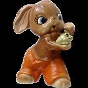 Vintage Josef Originals Anthropomorphic Bunny Rabbit Holding a Pet Frog Made in Japan Ceramic Figurine