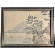 Vintage Japanese Watercolor Painting View of Fisherman in the Chanel, Signed by Artist
