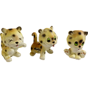 Vintage Rare Josef Originals Leopard Lion Cubs Made in Japan Ceramic Figurines