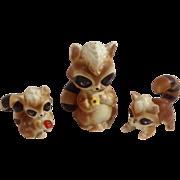 Vintage Rare Josef Originals Raccoon Family Made in Japan Ceramic Figurines