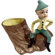 Gorgeous Vintage Pixie Elf Sitting on a Log Ceramic Planter Vase Figurine Hand Painted Signed by L. Pickett