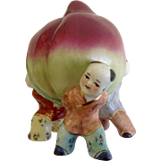 Andrea By Sadek Happy Chinese Boys Holding Sprouting Seed or Plum in Celebration of Spring or Harvest Ceramic Figurine