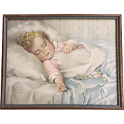 Annie Benson Muller, Just A Little Dream, Baby Sleeping Lithograph Print 1930's
