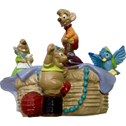 Discontinued Disney Store Lil Classics Gus Gus, Jaq  Sewing Basket from Cinderella PVC Figurine