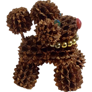 Vintage Real Miniature Pinecone Poodle Dog with Rhinestone Green Eyes Figurine