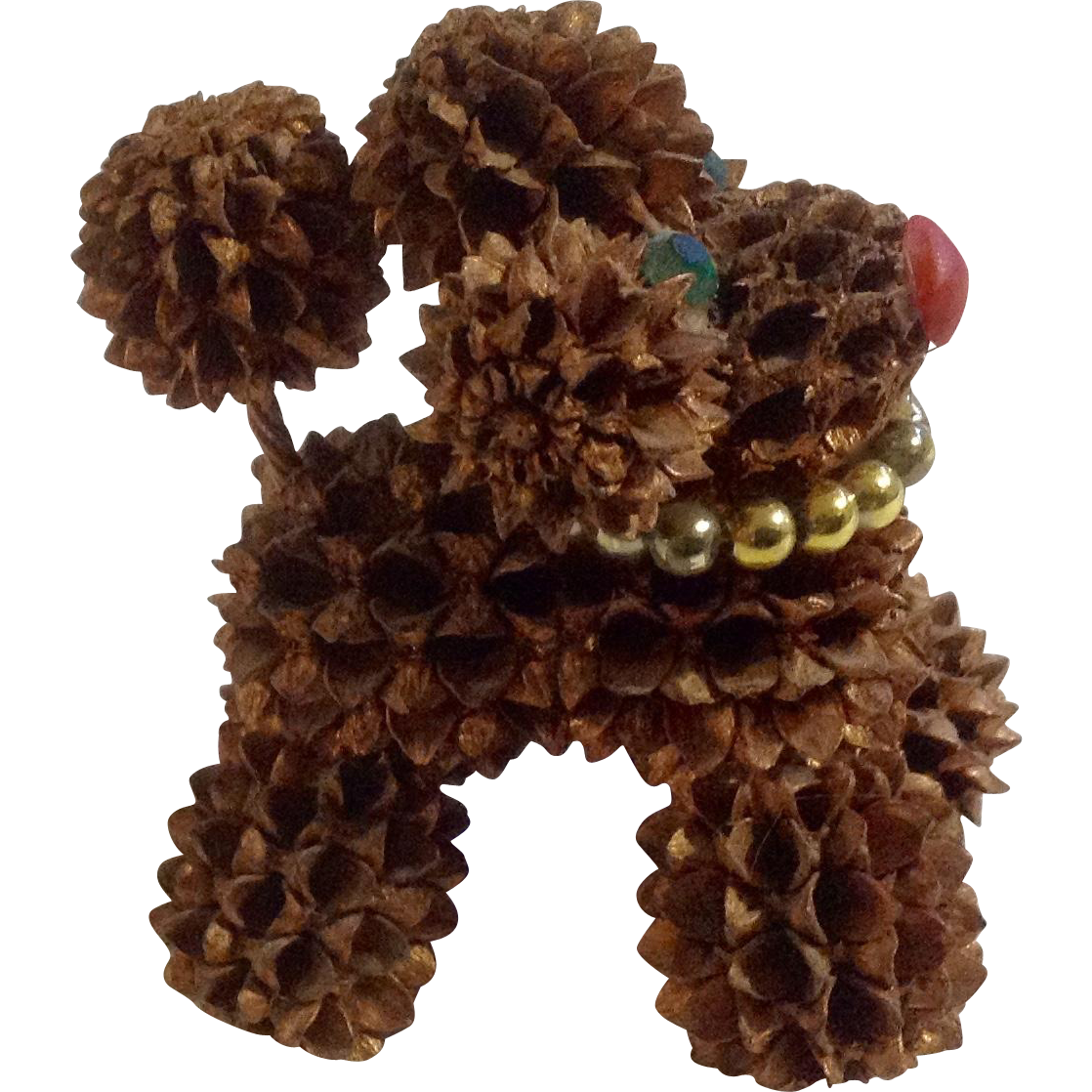 Vintage Poodle Dog Real Miniature Pinecones with Rhinestone Green Eyes Figurine