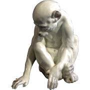 Rare Vintage 1900-1938 Fine White Porcelain Figure of a Seated Monkey no Ladybug
