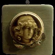 Antique Round Portrait Stove Tile Art Nouveau Bust of a Woman Parlor Stove Tile Medallion 1890's