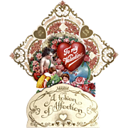 Vintage German Valentine's Day Card Die Cut Pierced Embossed Gold Folding Honeycomb 3D Heavy Paper
