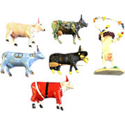 Cows On Parade Figurines Santa, Peace, Moonet, Oz utterly Witched, Kisses and Circus Clown Discontinued Retired CowParade