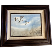 Fred A Kingwill, Watercolor Painting, Northern Pintail Ducks in Flight Over Brush, Works on Paper Signed by Jackson Hole Artist