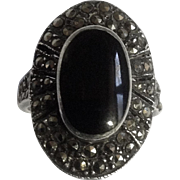 Vintage Gorgeous Sterling Silver 925 Black Onyx Marcasite Women's Ring Size 6.5