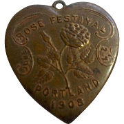 1908 Metal Medallion Rose Festival Portland Oregon Souvenir Heart Pendant Schwaabs & S Co. Milwaukee
