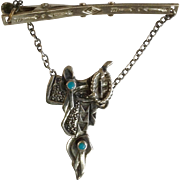 Vintage Southwestern Tie Clip with a Silver Tone Metal Saddle Attached