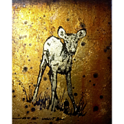 Jack White Baby Deer Gold Leaf Reverse Glass Oil Painting Echruseos Signed by Artist