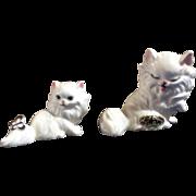 Rare Vintage Josef Originals Miniature White Cats Ceramic Japan Figurine