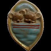 Vintage Josef Originals Miniature Mice in a Nutshell Ceramic Japan Figurine