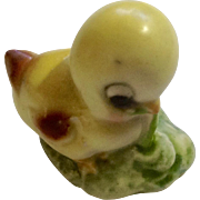 Vintage Josef Originals Yellow Baby Chick Pulling Worm Miniature Ceramic Japan Animal Figurine