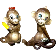 Vintage Josef Originals Blue Eye Monkey Couple Red Bow Rolling Pin Knot Head Ceramic Japan Figurine