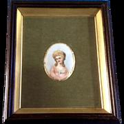 Vintage Miniature Portrait Painting on Porcelain Elegant Lady in Pink Dress